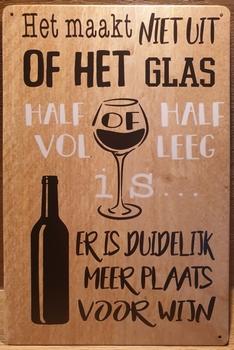 Wijn Glas Half Vol Leeg Reclamebord metaal