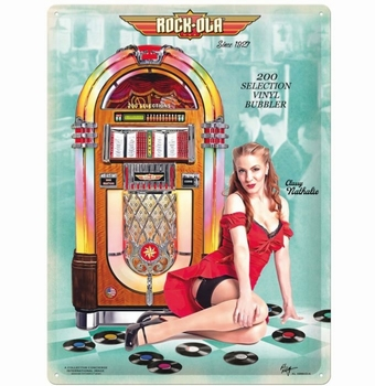 Rockola pinup metalen wandbord jukebox relief