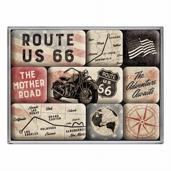 Route 66 bike map 9 magneetjes Magneetset