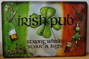 Irish pub strong whisky stut lager metalen relief bord