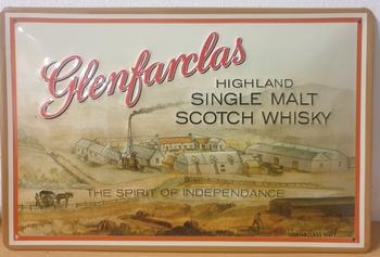 Glenfarclas whiskey single malt metalen wandbord relief