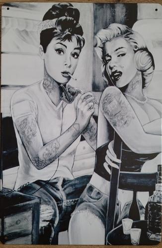Audrey hepburn Marilyn Monoe tattoo reclamebord metaal