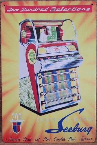 Seeburg Jukebox reclamebord van metaal