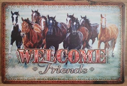 Welcome Friends Paarden reclamebord van metaal