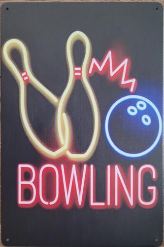 Bowling neon stijl reclamebord van metaal