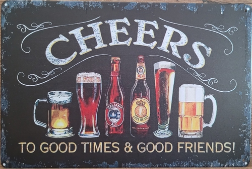 Cheers  to good times glazen horizontaal reclamebord