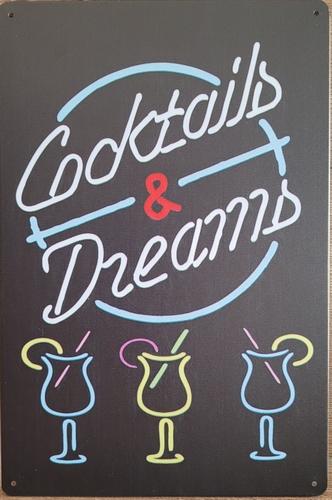 Cocktails and Dreams neon stijl reclamebord van metaal
