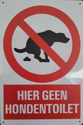 Geen Honden TOILET reclamebord van metaal