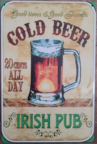 Cold Bier irish Pub reclamebord van metaal