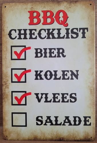 BBQ Barbecue Checklist metalen reclamebord