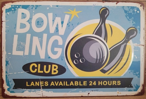 Bowling bowlen club metalen reclamebord metaal