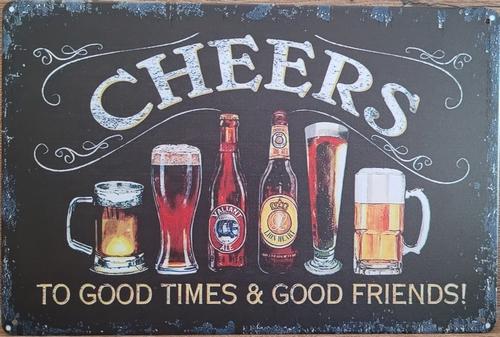 Cheers  to good times glazen horizontaal reclamebord