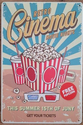 Cinema Popcorn retro reclamebord van metaal
