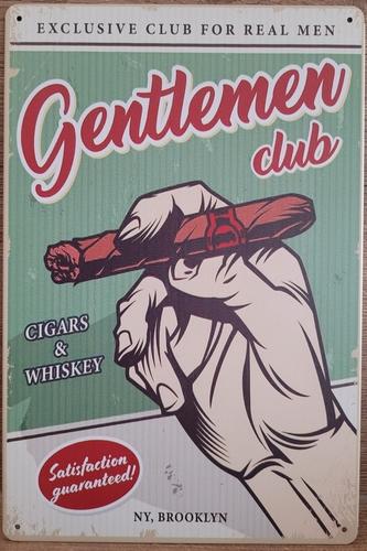 Gentleman club Sigaar reclamebord van metaal
