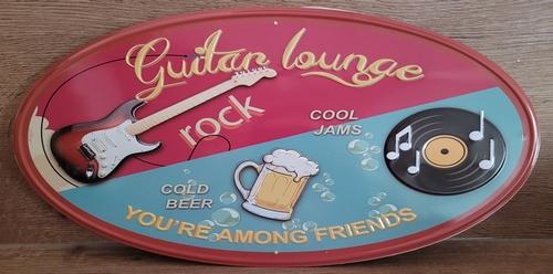 Guitar lounge your among friends ovaal wandbord
