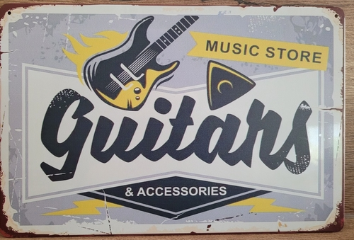 Guitars Horizontaal music store reclamebord metaal