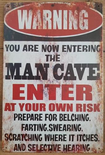 Mancave you're now entering reclamebord van metaal 30x