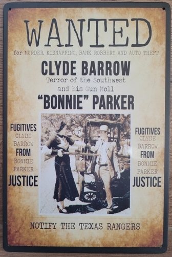 Wanted Bonnie and Clyde reclamebord van metaal