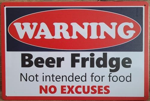 Warning Bier Fridge Bier koelkast reclamebord metaal