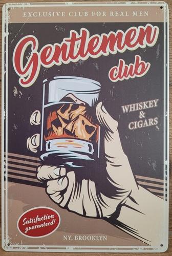 Whiskey Gentleman club reclamebord metaal