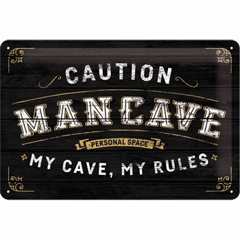 Man Cave caution my cave my rules relief wandbord