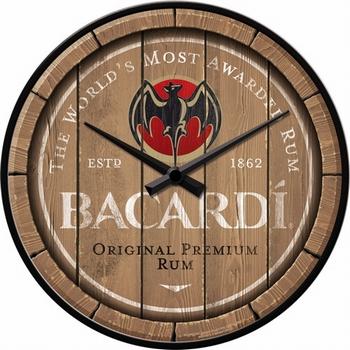 Bacardi wood barrel logo wandklok