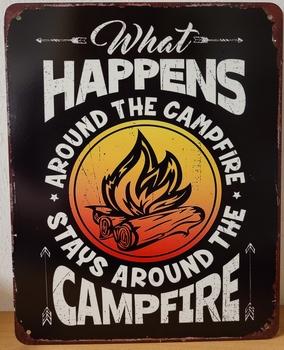 What happens at the campfire metalen wandbord