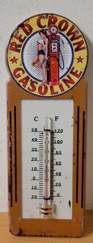 Red crown pin up gasoline metalen thermometer