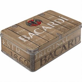 Bacardi wood logo koekblik voorraadblik