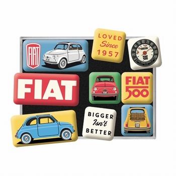 Fiat 500 magneetset van 9 magneetjes