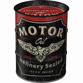 Motor oil barrel spaarpot metaal
