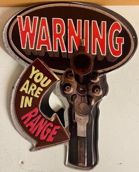 Warning you are in range metalen uitgesneden bord