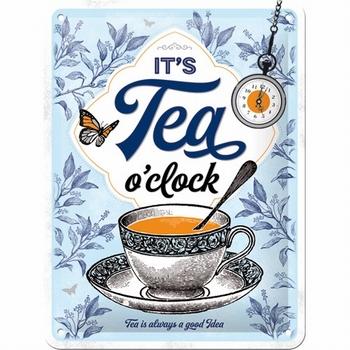 It's tea o'clock metalen wandbord thee tijd