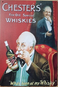 Chester's Whisky reclamebord metaal