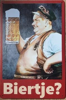 Biertje  Man Bierpul metalen wandbord