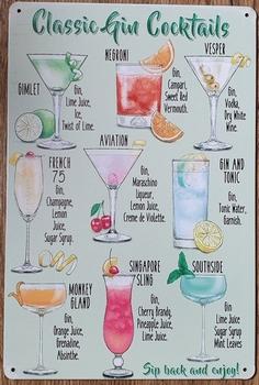 Classic Gin Cocktails metalen reclamebord