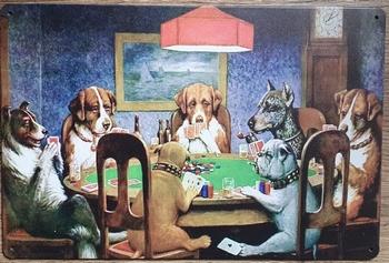 Honden aan pokertafel reclamebord metaal