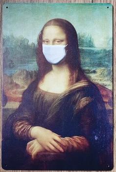 Mona Lisa Mondkapje reclamebord van metaal