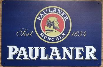 Paulaner bier reclamebord van metaal