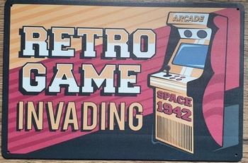 Retro Game invading arcade game reclamebord metaal