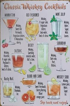 Whiskey Cocktails reclamebord van metaal