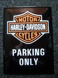 Harley Davidson Parking only metaal relief