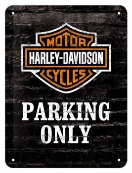 Harley davidson parking only reclamebord metaal klein