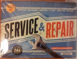 Service en repair garage 24h reclamebord Reliëf