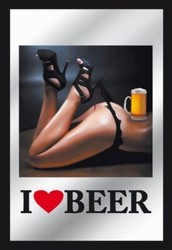 I love beer spiegel pin up  30 x 20 cm