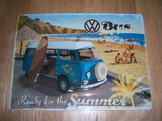 Volkswagen oude VW bus surf coast metaal relief  40 x 30 cm