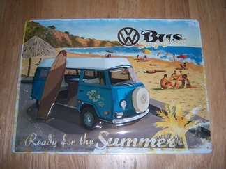 Volkswagen oude VW bus surf coast metaal relief
