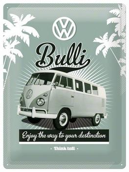 Volkswagen VW Bulli busje reclamebord metaal klein