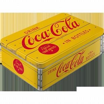 Coca cola voorraadblik groot plat  23 x 16 x 7 cm