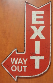 Exit way out pijl rood  40 x 25 cm
